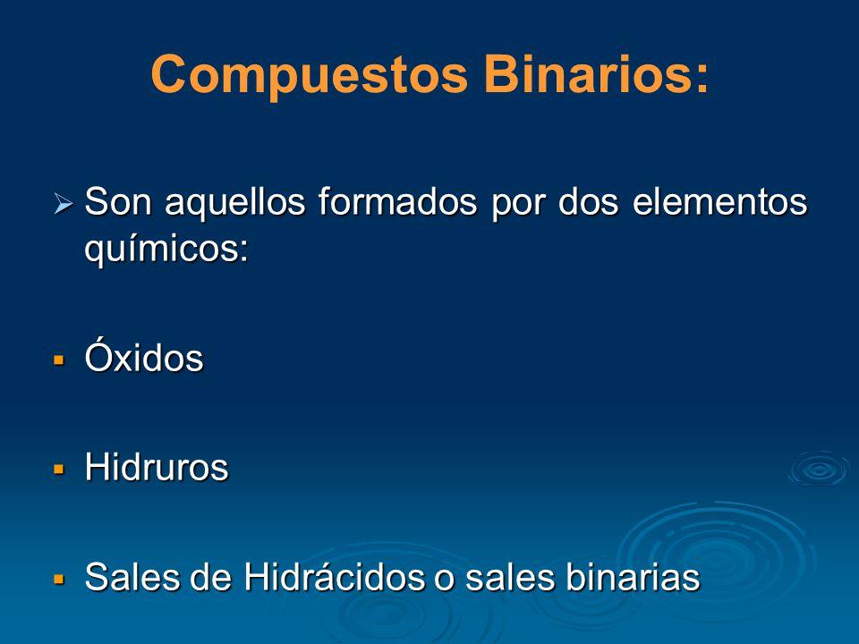 Compuestos Binarios: Son aquellos formados por dos elementos químicos: Son aquellos formados por dos elementos químicos: Óxidos Óxidos Hidruros Hidruros Sales de Hidrácidos o sales binarias Sales de Hidrácidos o sales binarias