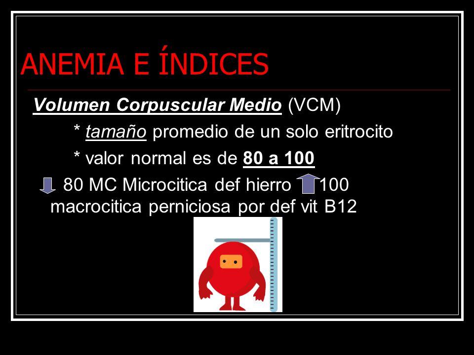ANEMIA E ÍNDICES Volumen Corpuscular Medio (VCM) * tamaño promedio de un solo eritrocito * valor normal es de 80 a 100 80 MC Microcitica def hierro 100 macrocitica perniciosa por def vit B12