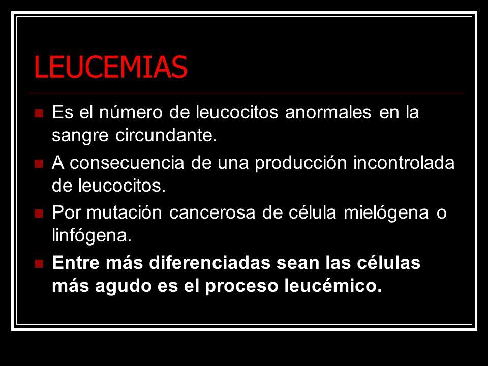 LEUCEMIAS Es el número de leucocitos anormales en la sangre circundante. A consecuencia de una producción incontrolada de leucocitos. Por mutación can