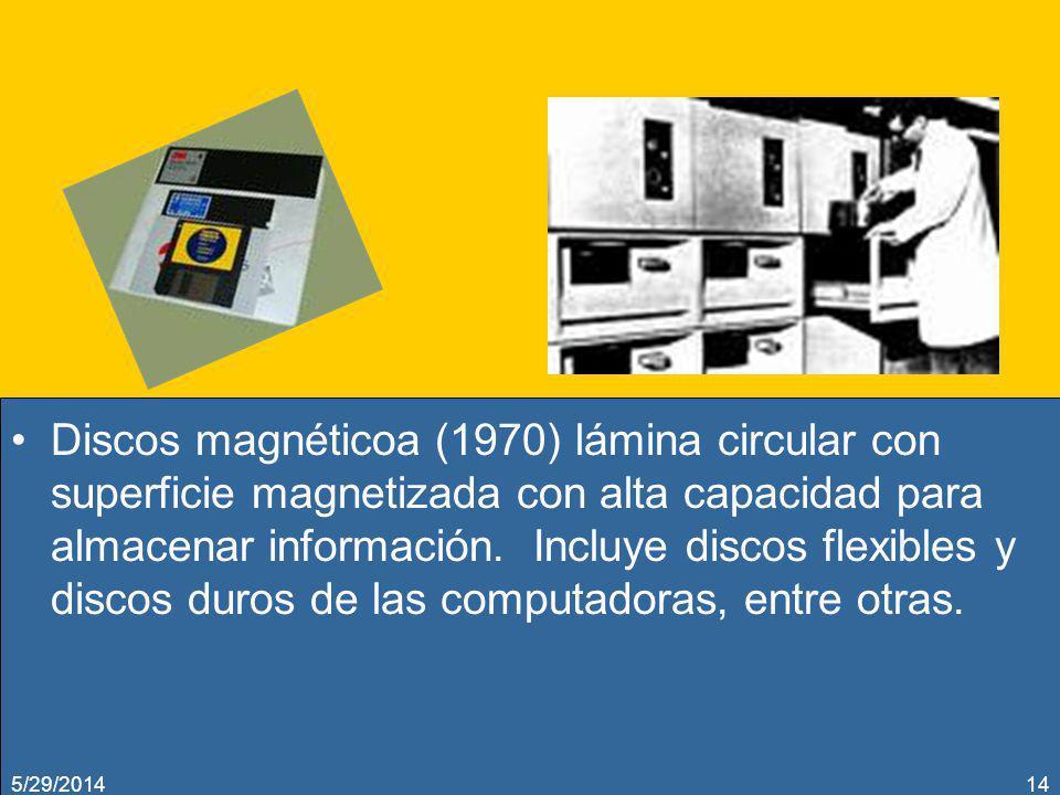 Discos magnéticoa (1970) lámina circular con superficie magnetizada con alta capacidad para almacenar información. Incluye discos flexibles y discos d