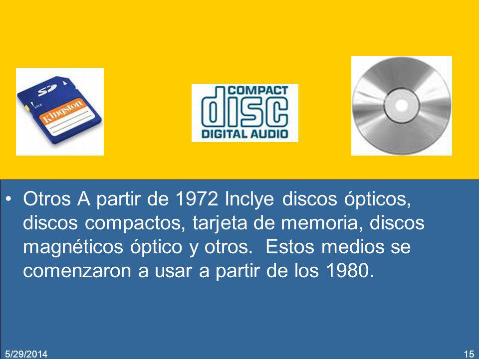 Otros A partir de 1972 Inclye discos ópticos, discos compactos, tarjeta de memoria, discos magnéticos óptico y otros. Estos medios se comenzaron a usa