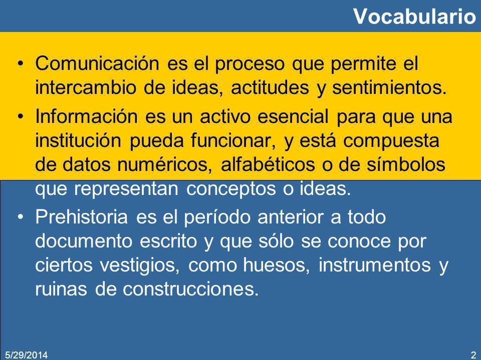 5/29/20142 Vocabulario Comunicación es el proceso que permite el intercambio de ideas, actitudes y sentimientos. Información es un activo esencial par