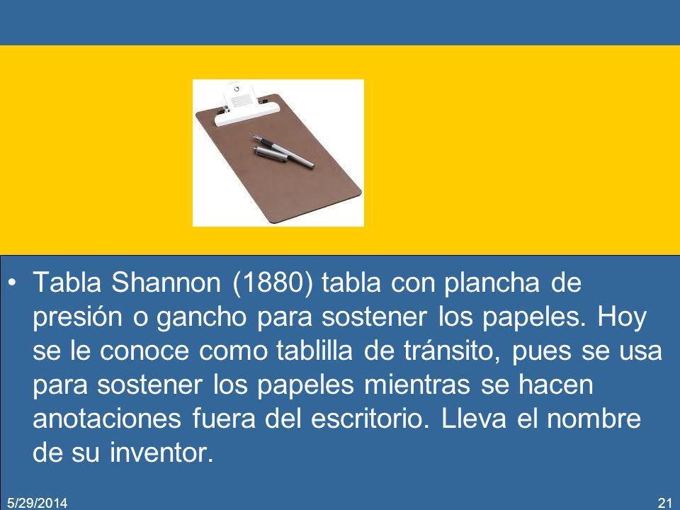 Tabla Shannon (1880) tabla con plancha de presión o gancho para sostener los papeles. Hoy se le conoce como tablilla de tránsito, pues se usa para sos