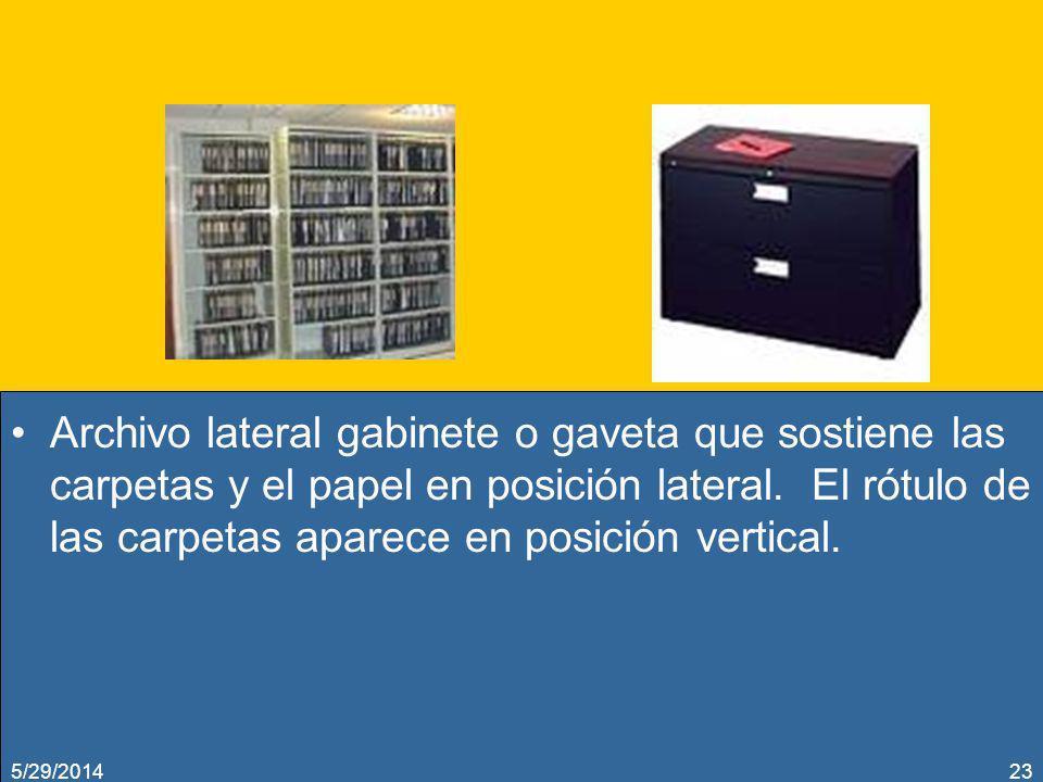 Archivo lateral gabinete o gaveta que sostiene las carpetas y el papel en posición lateral. El rótulo de las carpetas aparece en posición vertical. 5/