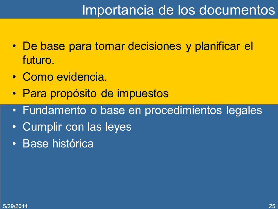 Importancia de los documentos De base para tomar decisiones y planificar el futuro. Como evidencia. Para propósito de impuestos Fundamento o base en p