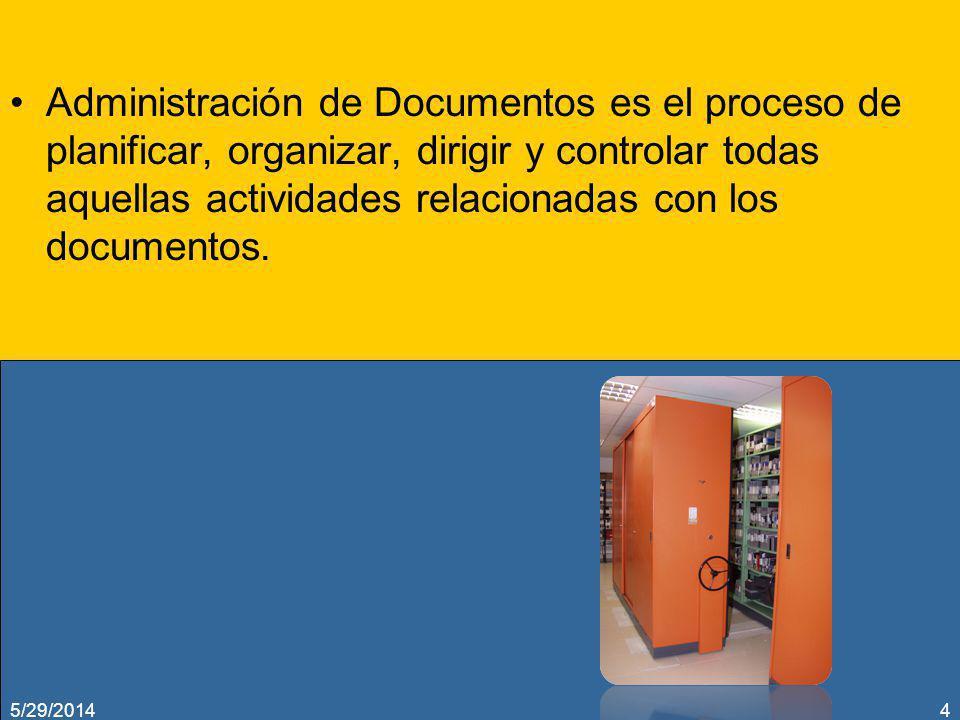Administración de Documentos es el proceso de planificar, organizar, dirigir y controlar todas aquellas actividades relacionadas con los documentos. 5