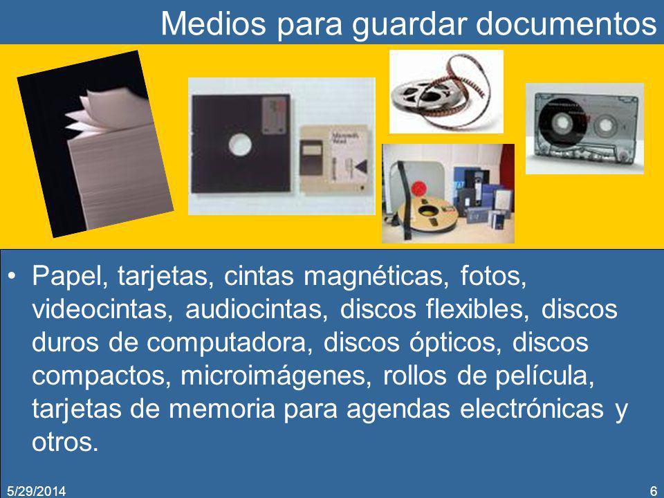 Medios para guardar documentos Papel, tarjetas, cintas magnéticas, fotos, videocintas, audiocintas, discos flexibles, discos duros de computadora, dis