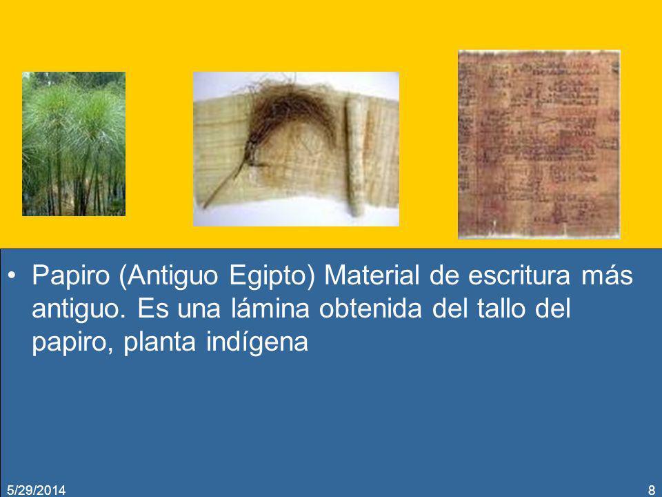 Papiro (Antiguo Egipto) Material de escritura más antiguo. Es una lámina obtenida del tallo del papiro, planta indígena 5/29/20148
