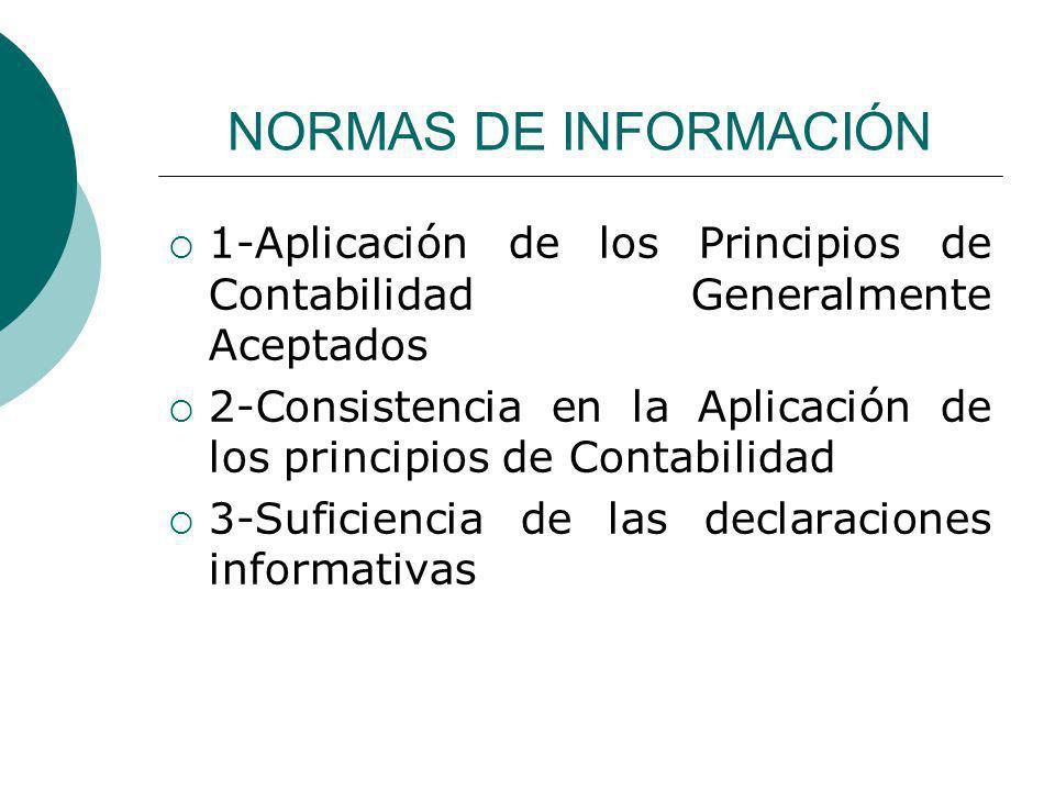 NORMAS DE INFORMACIÓN 1-Aplicación de los Principios de Contabilidad Generalmente Aceptados 2-Consistencia en la Aplicación de los principios de Contabilidad 3-Suficiencia de las declaraciones informativas