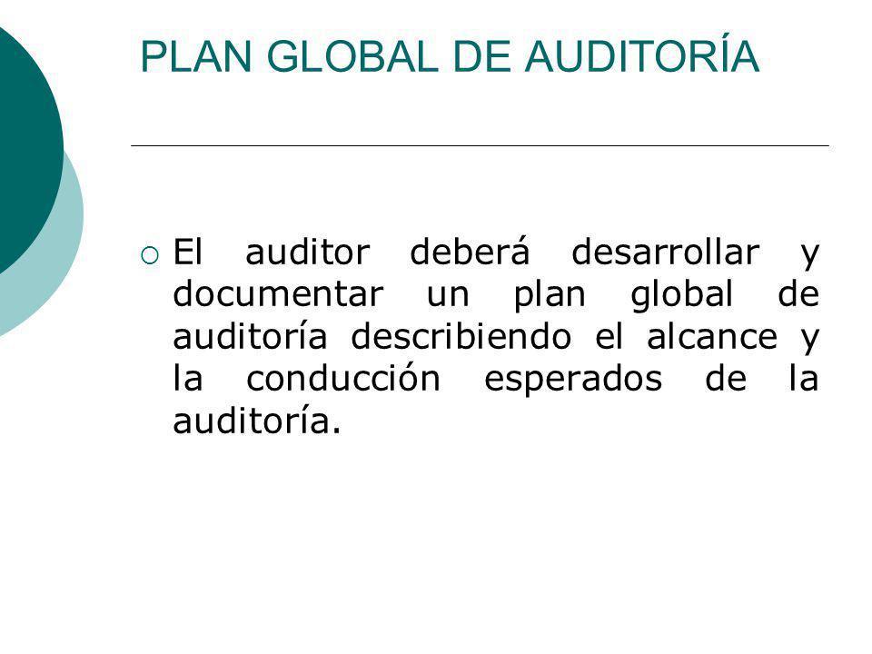 PLAN GLOBAL DE AUDITORÍA El auditor deberá desarrollar y documentar un plan global de auditoría describiendo el alcance y la conducción esperados de la auditoría.