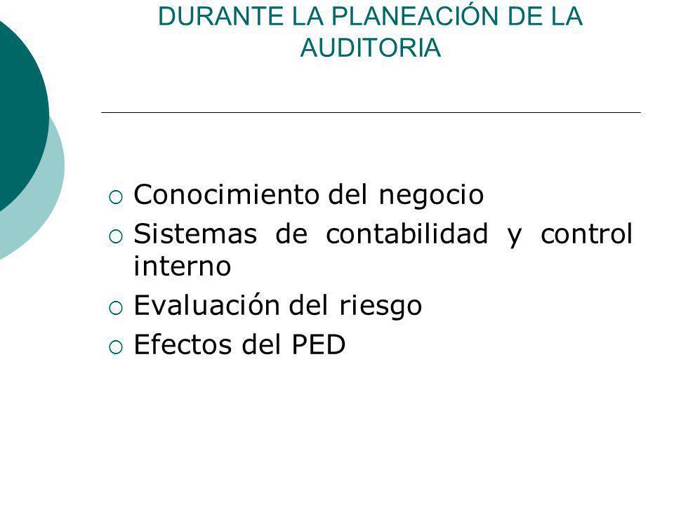 DURANTE LA PLANEACIÓN DE LA AUDITORIA Conocimiento del negocio Sistemas de contabilidad y control interno Evaluación del riesgo Efectos del PED