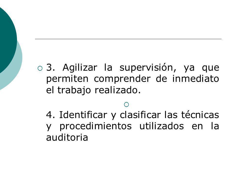 3.Agilizar la supervisión, ya que permiten comprender de inmediato el trabajo realizado.