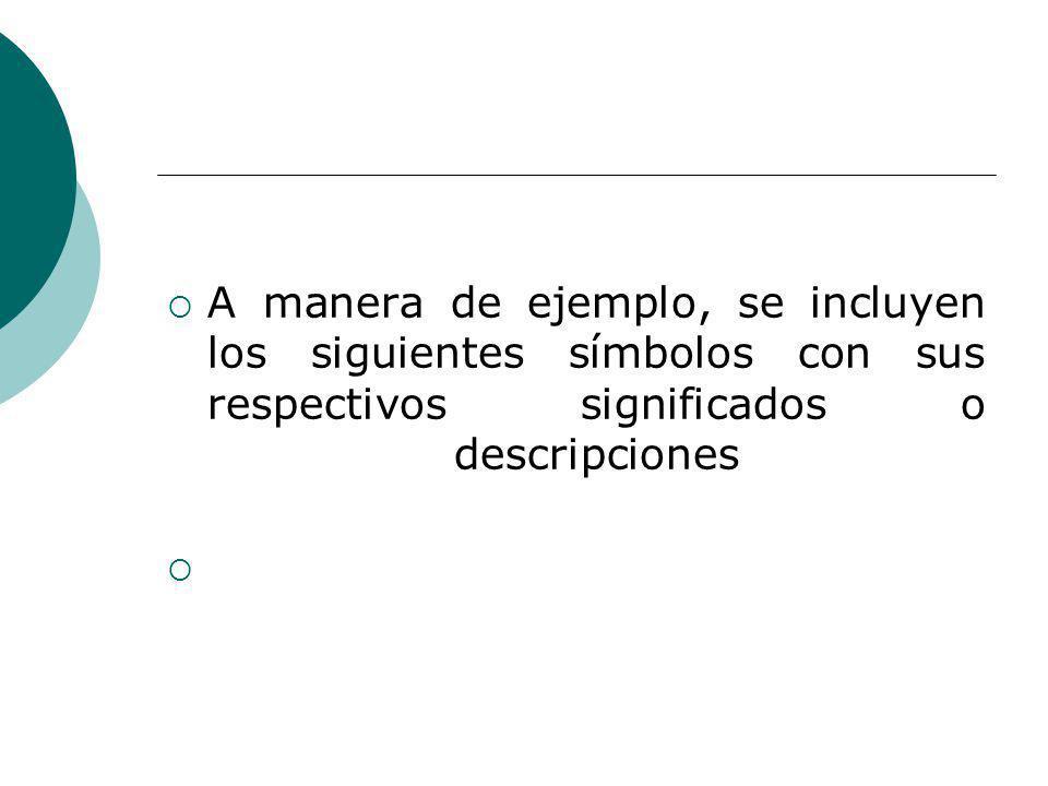 A manera de ejemplo, se incluyen los siguientes símbolos con sus respectivos significados o descripciones