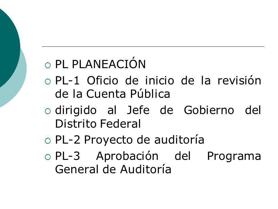 PL PLANEACIÓN PL-1 Oficio de inicio de la revisión de la Cuenta Pública dirigido al Jefe de Gobierno del Distrito Federal PL-2 Proyecto de auditoría PL-3 Aprobación del Programa General de Auditoría