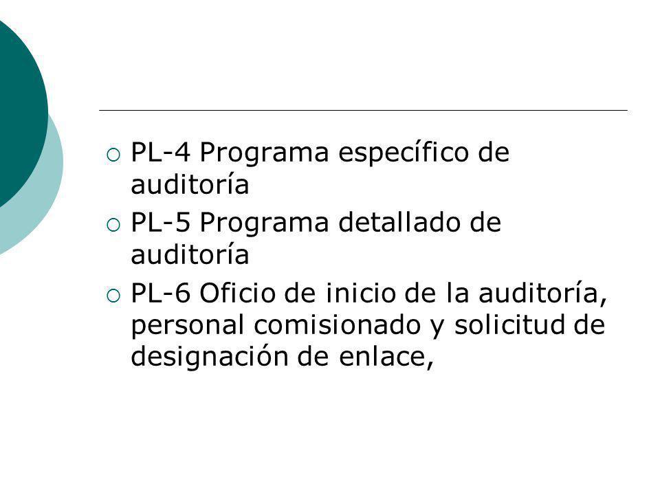 PL-4 Programa específico de auditoría PL-5 Programa detallado de auditoría PL-6 Oficio de inicio de la auditoría, personal comisionado y solicitud de designación de enlace,