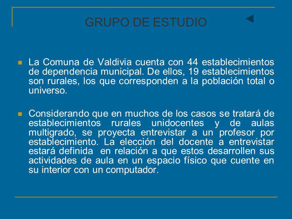 GRUPO DE ESTUDIO La Comuna de Valdivia cuenta con 44 establecimientos de dependencia municipal. De ellos, 19 establecimientos son rurales, los que cor