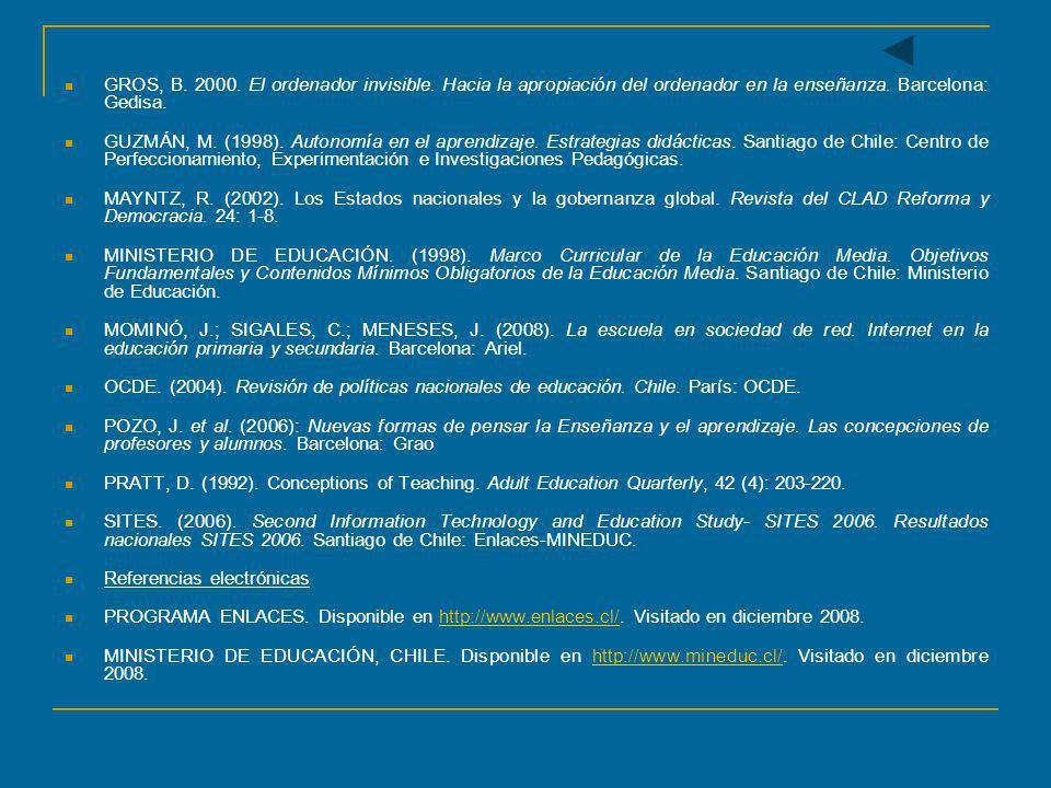 GROS, B. 2000. El ordenador invisible. Hacia la apropiación del ordenador en la enseñanza. Barcelona: Gedisa. GUZMÁN, M. (1998). Autonomía en el apren