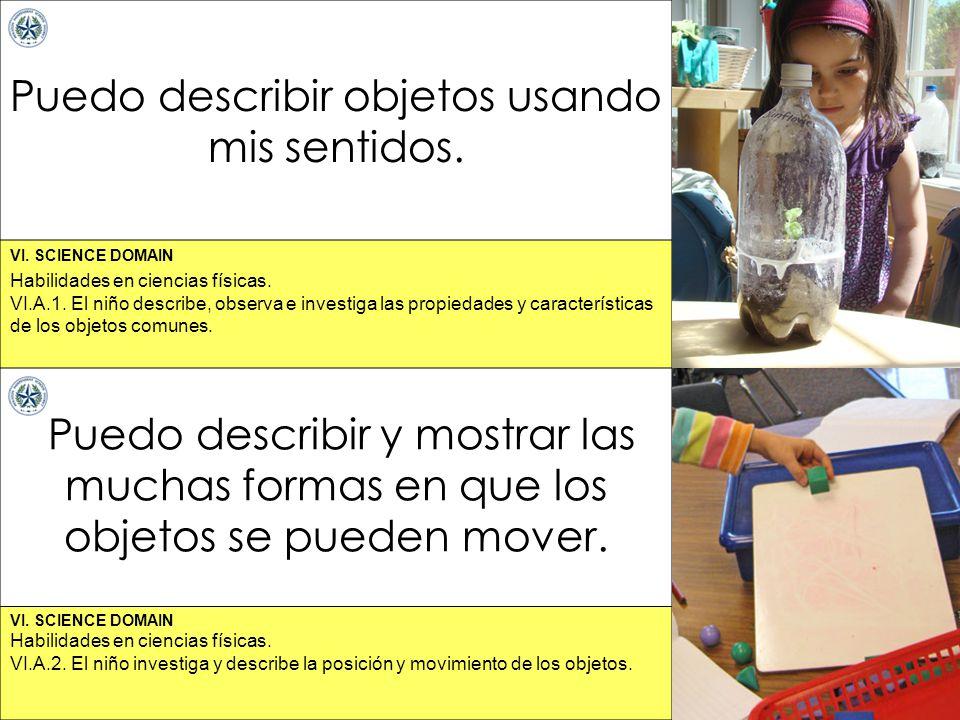 VI. SCIENCE DOMAIN Puedo describir objetos usando mis sentidos. Puedo describir y mostrar las muchas formas en que los objetos se pueden mover. Habili