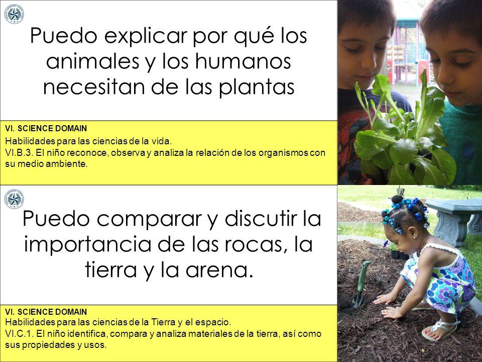 VI. SCIENCE DOMAIN Puedo explicar por qué los animales y los humanos necesitan de las plantas Puedo comparar y discutir la importancia de las rocas, l