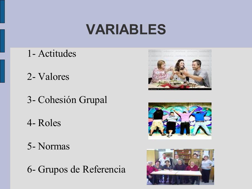 VARIABLES 1- Actitudes 2- Valores 3- Cohesión Grupal 4- Roles 5- Normas 6- Grupos de Referencia