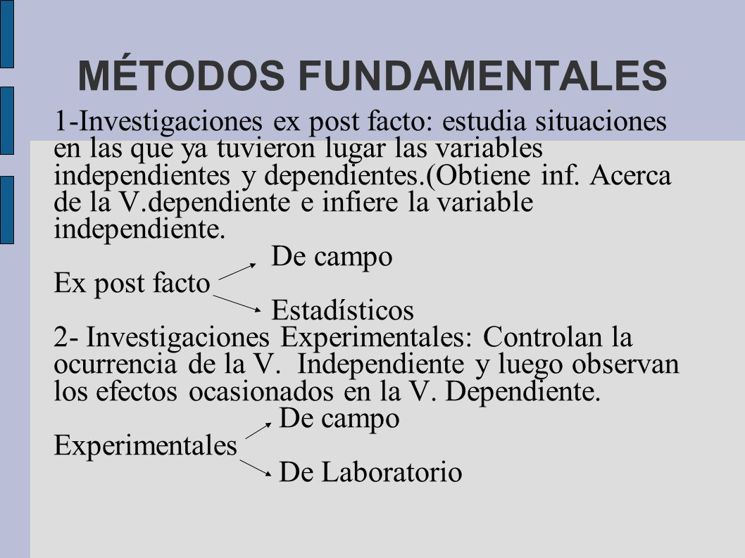 MÉTODOS FUNDAMENTALES 1-Investigaciones ex post facto: estudia situaciones en las que ya tuvieron lugar las variables independientes y dependientes.(Obtiene inf.