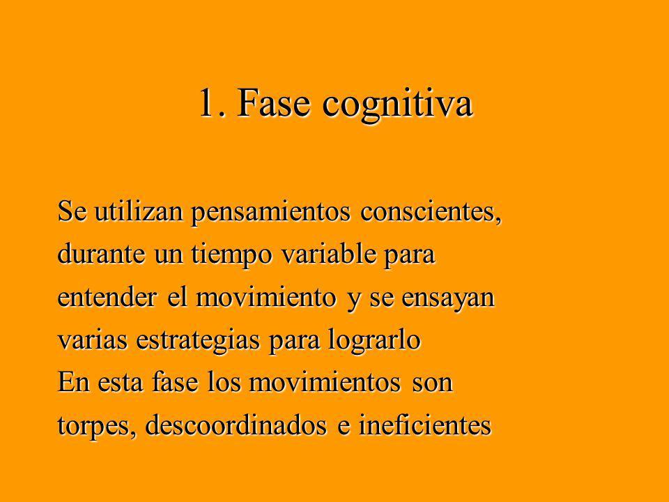 1. Fase cognitiva Se utilizan pensamientos conscientes, durante un tiempo variable para entender el movimiento y se ensayan varias estrategias para lo