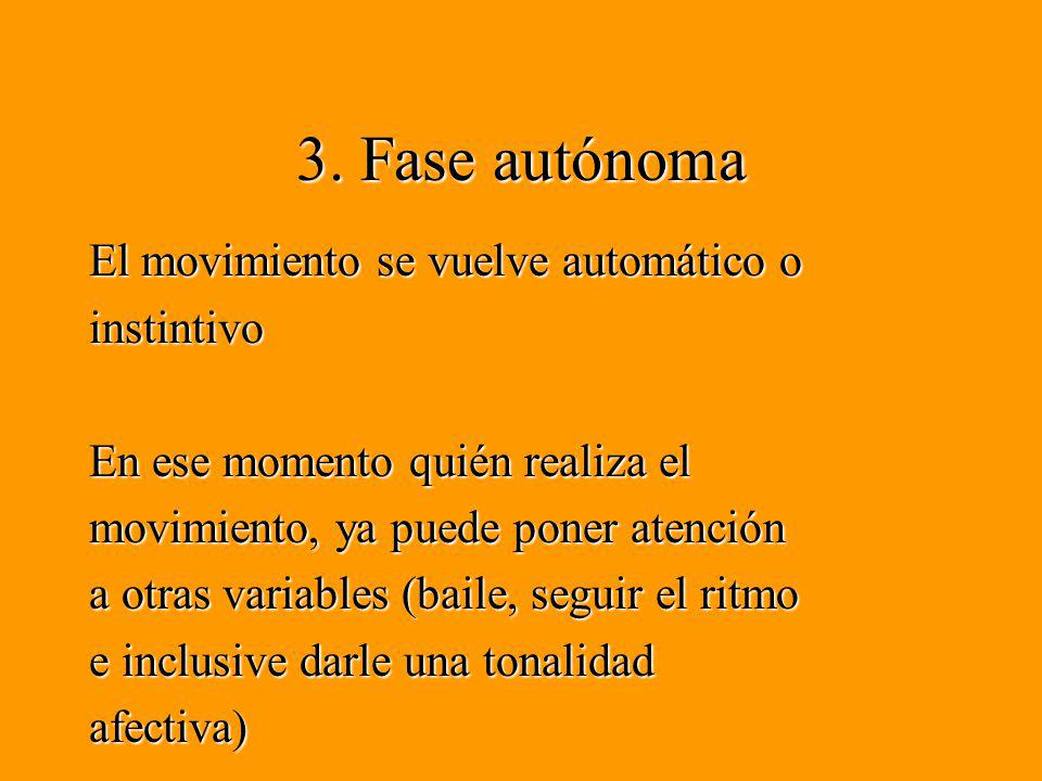 3. Fase autónoma El movimiento se vuelve automático o instintivo En ese momento quién realiza el movimiento, ya puede poner atención a otras variables