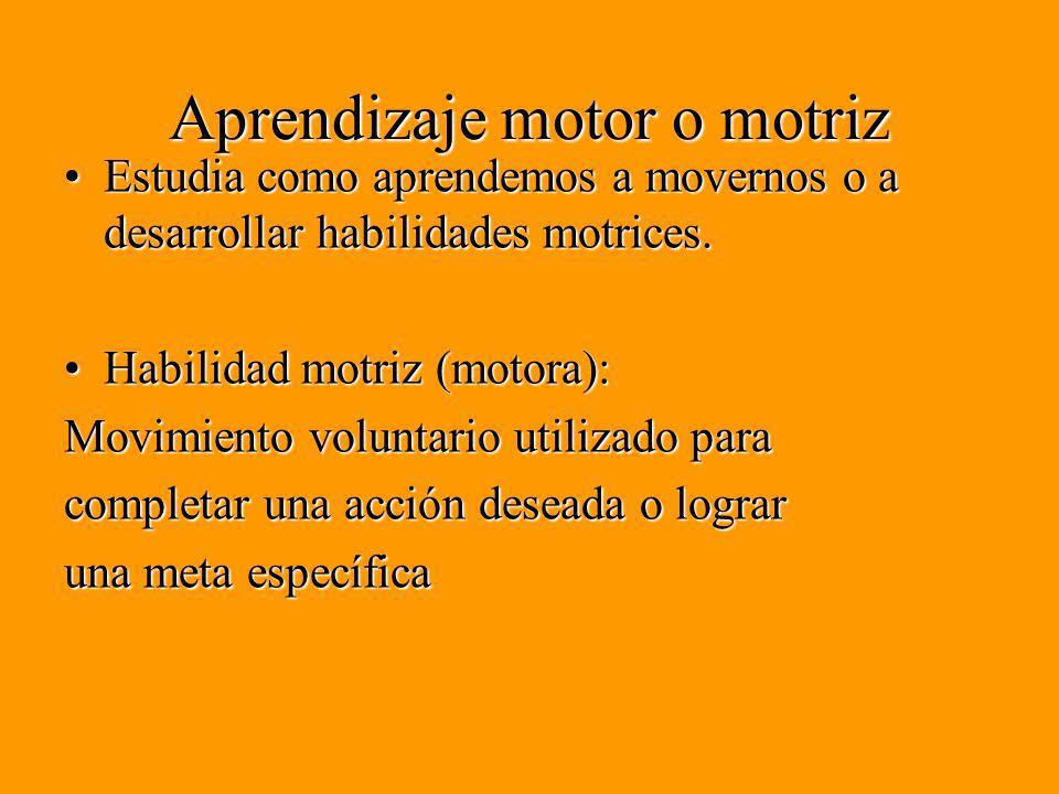 Aprendizaje motor o motriz Estudia como aprendemos a movernos o a desarrollar habilidades motrices.Estudia como aprendemos a movernos o a desarrollar habilidades motrices.