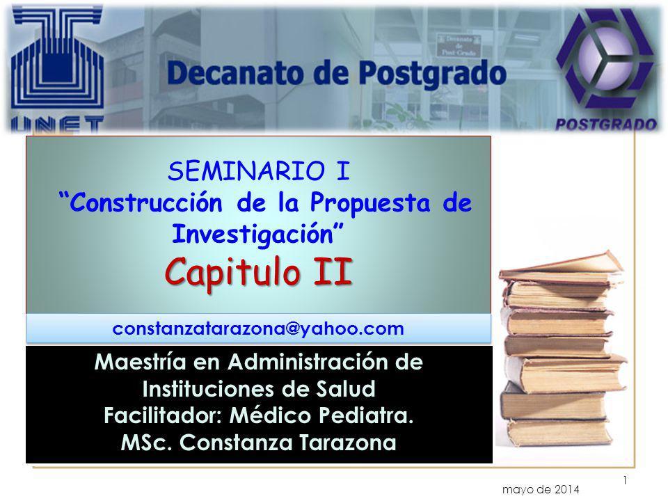 Capitulo II SEMINARIO I Construcción de la Propuesta de Investigación Capitulo II mayo de 2014 Maestría en Administración de Instituciones de Salud Fa