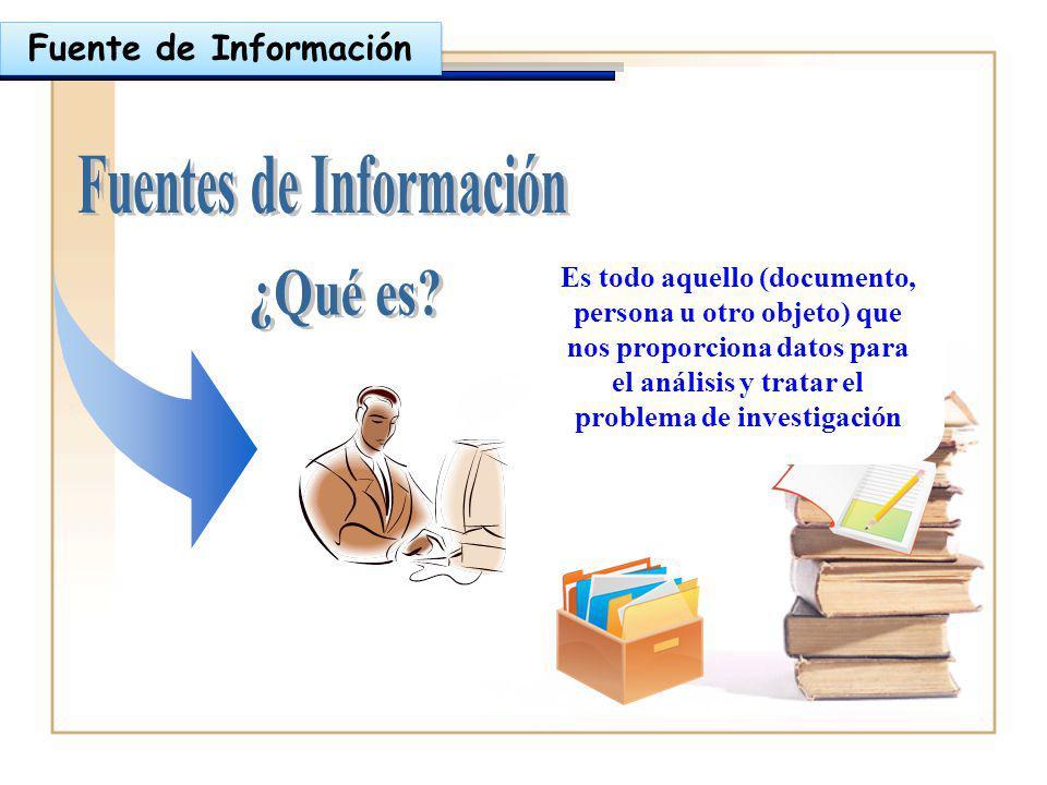 Fuente de Información Es todo aquello (documento, persona u otro objeto) que nos proporciona datos para el análisis y tratar el problema de investigac