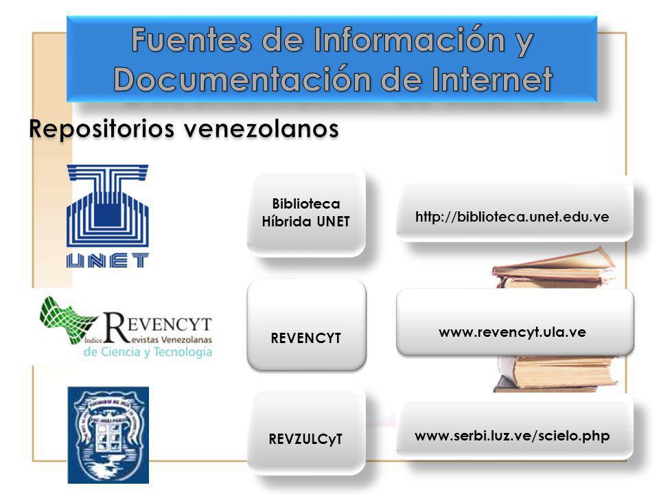 Biblioteca Híbrida UNET http://biblioteca.unet.edu.ve REVENCYT www.revencyt.ula.ve REVZULCyT www.serbi.luz.ve/scielo.php
