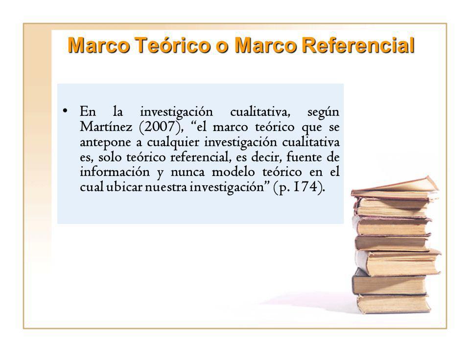 Marco Teórico o Marco Referencial En la investigación cualitativa, según Martínez (2007), el marco teórico que se antepone a cualquier investigación c
