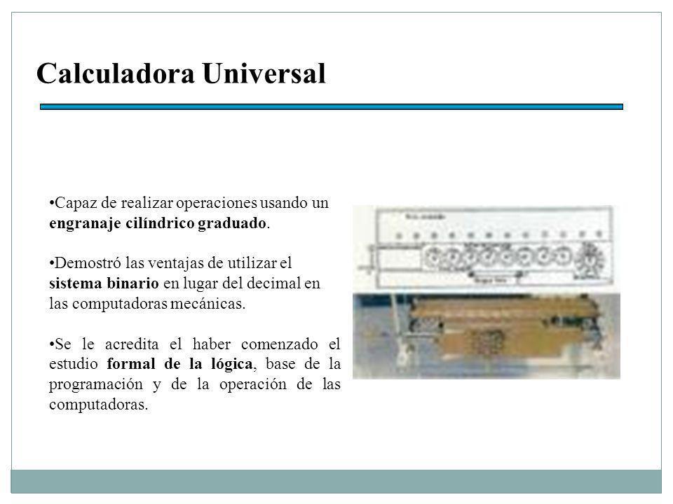 Calculadora Universal Capaz de realizar operaciones usando un engranaje cilíndrico graduado.