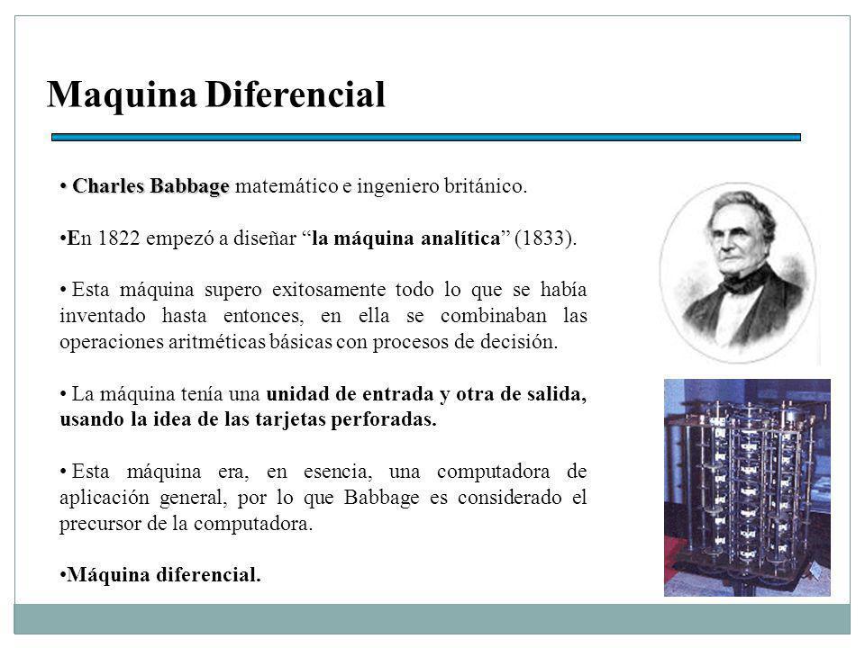 Maquina Diferencial Charles Babbage Charles Babbage matemático e ingeniero británico.