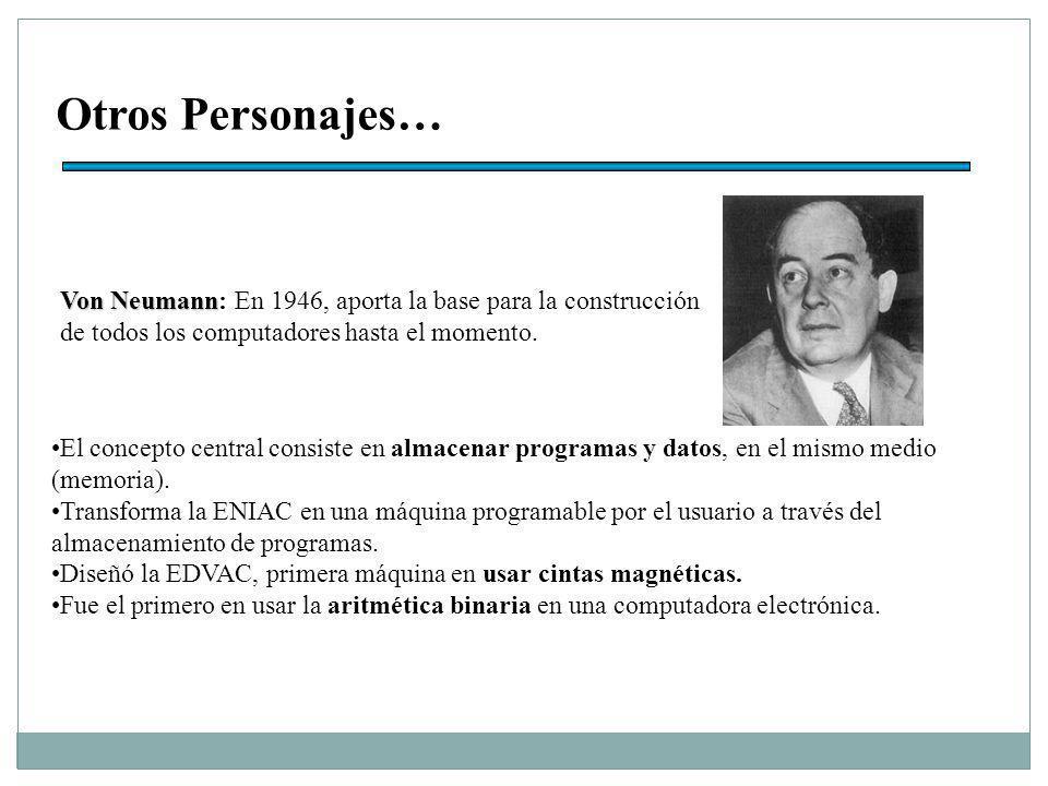 Otros Personajes… Von Neumann Von Neumann: En 1946, aporta la base para la construcción de todos los computadores hasta el momento.