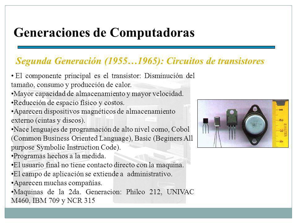 Generaciones de Computadoras Segunda Generación (1955…1965): Circuitos de transistores El componente principal es el transistor: Disminución del tamaño, consumo y producción de calor.