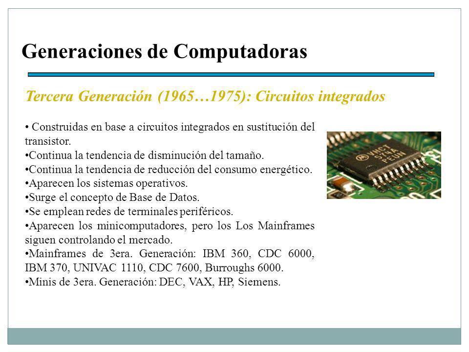 Generaciones de Computadoras Tercera Generación (1965…1975): Circuitos integrados Construidas en base a circuitos integrados en sustitución del transistor.