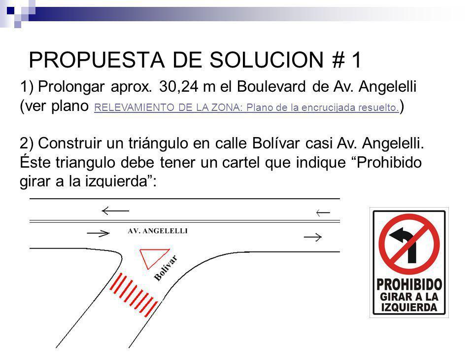 PROPUESTA DE SOLUCION # 1 1) Prolongar aprox. 30,24 m el Boulevard de Av.