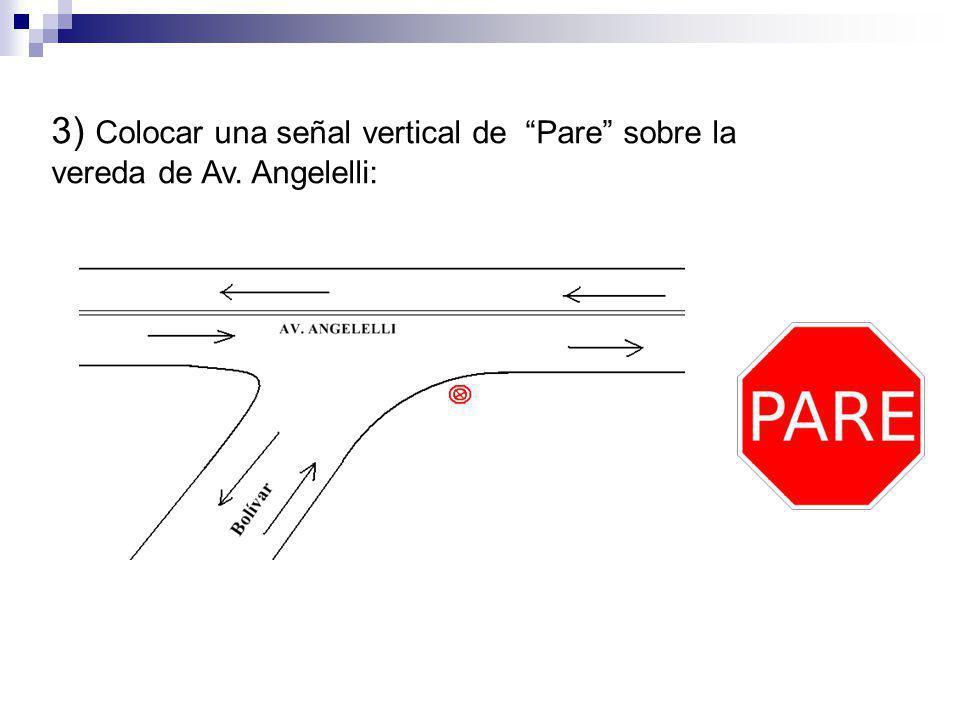 3) Colocar una señal vertical de Pare sobre la vereda de Av. Angelelli: