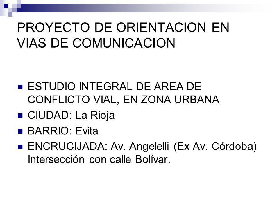 PROYECTO DE ORIENTACION EN VIAS DE COMUNICACION ESTUDIO INTEGRAL DE AREA DE CONFLICTO VIAL, EN ZONA URBANA CIUDAD: La Rioja BARRIO: Evita ENCRUCIJADA: Av.