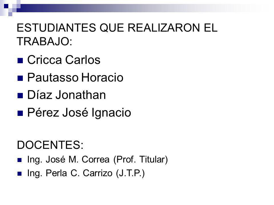 ESTUDIANTES QUE REALIZARON EL TRABAJO: Cricca Carlos Pautasso Horacio Díaz Jonathan Pérez José Ignacio DOCENTES: Ing.