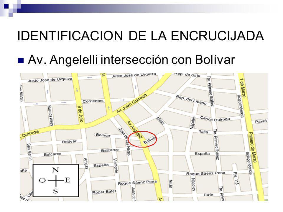 IDENTIFICACION DE LA ENCRUCIJADA Av. Angelelli intersección con Bolívar