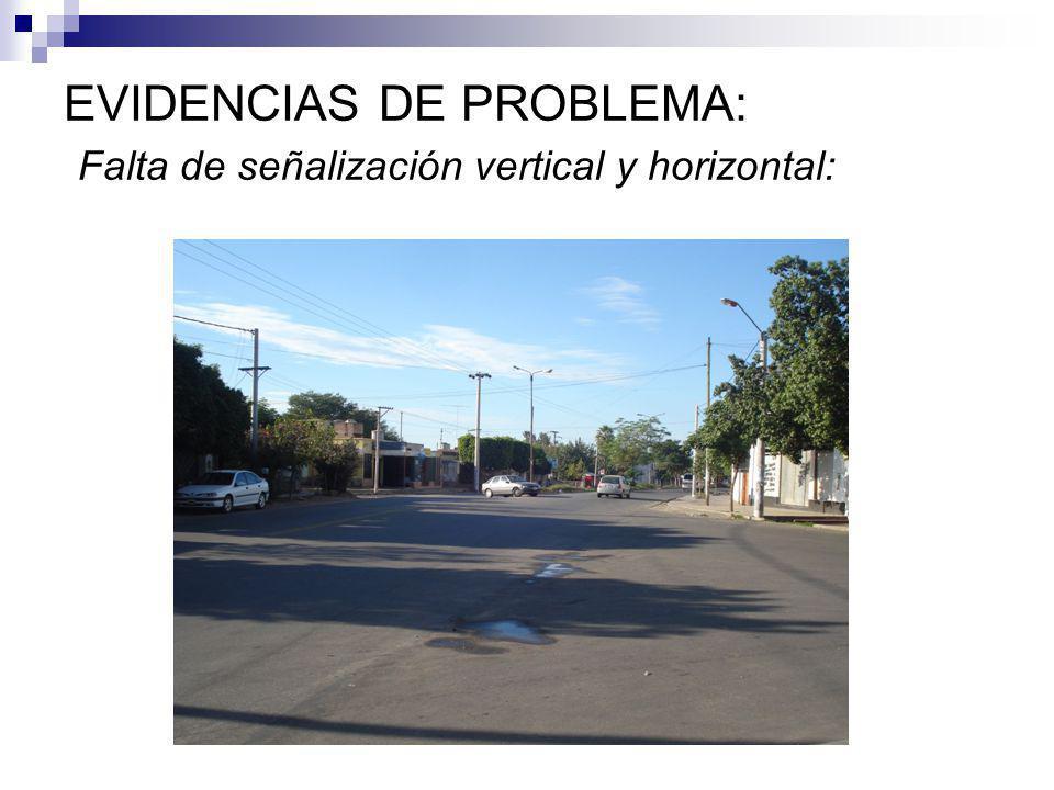 EVIDENCIAS DE PROBLEMA: Falta de señalización vertical y horizontal: