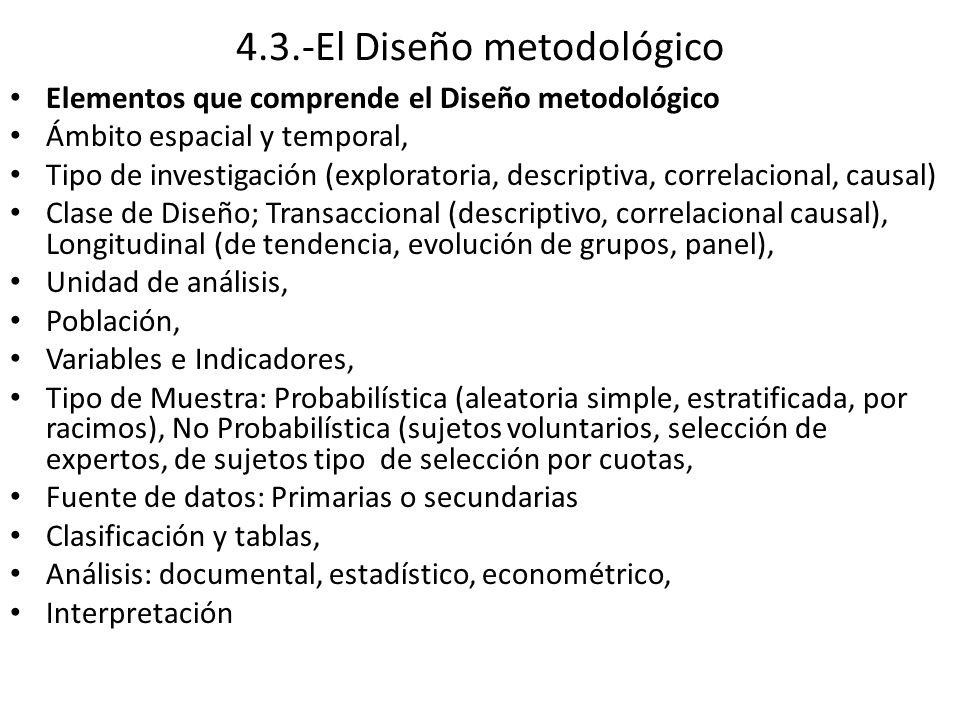 4.3.-El Diseño metodológico Elementos que comprende el Diseño metodológico Ámbito espacial y temporal, Tipo de investigación (exploratoria, descriptiva, correlacional, causal) Clase de Diseño; Transaccional (descriptivo, correlacional causal), Longitudinal (de tendencia, evolución de grupos, panel), Unidad de análisis, Población, Variables e Indicadores, Tipo de Muestra: Probabilística (aleatoria simple, estratificada, por racimos), No Probabilística (sujetos voluntarios, selección de expertos, de sujetos tipo de selección por cuotas, Fuente de datos: Primarias o secundarias Clasificación y tablas, Análisis: documental, estadístico, econométrico, Interpretación