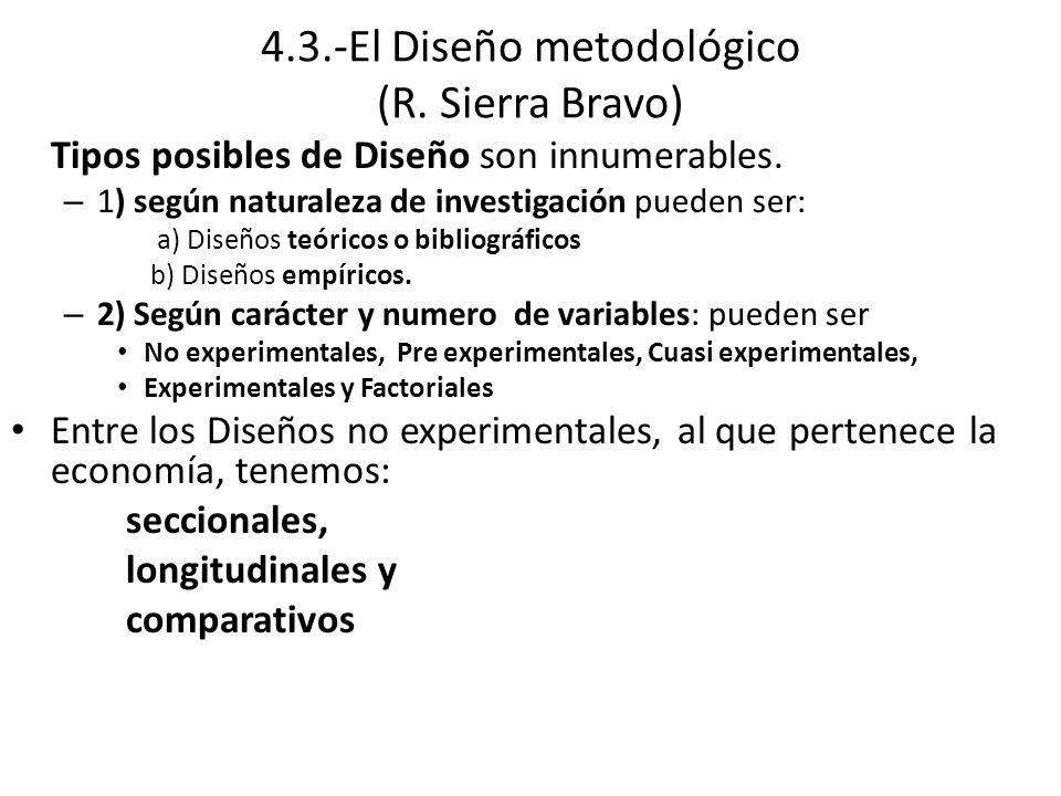 4.3.-El Diseño metodológico (R.Sierra Bravo) Tipos posibles de Diseño son innumerables.