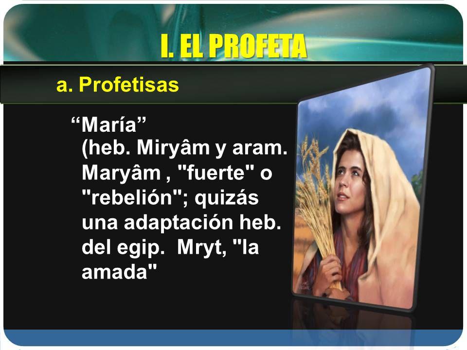 I. EL PROFETA María (heb. Miryâm y aram. Maryâm,