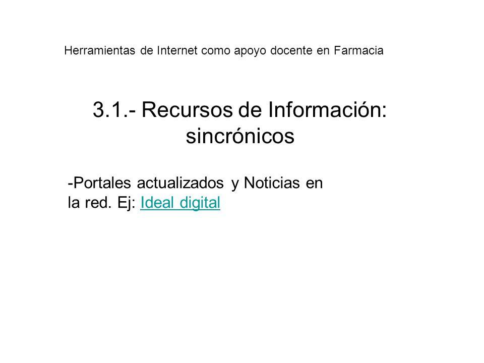 3.1.- Recursos de Información: sincrónicos -Portales actualizados y Noticias en la red.