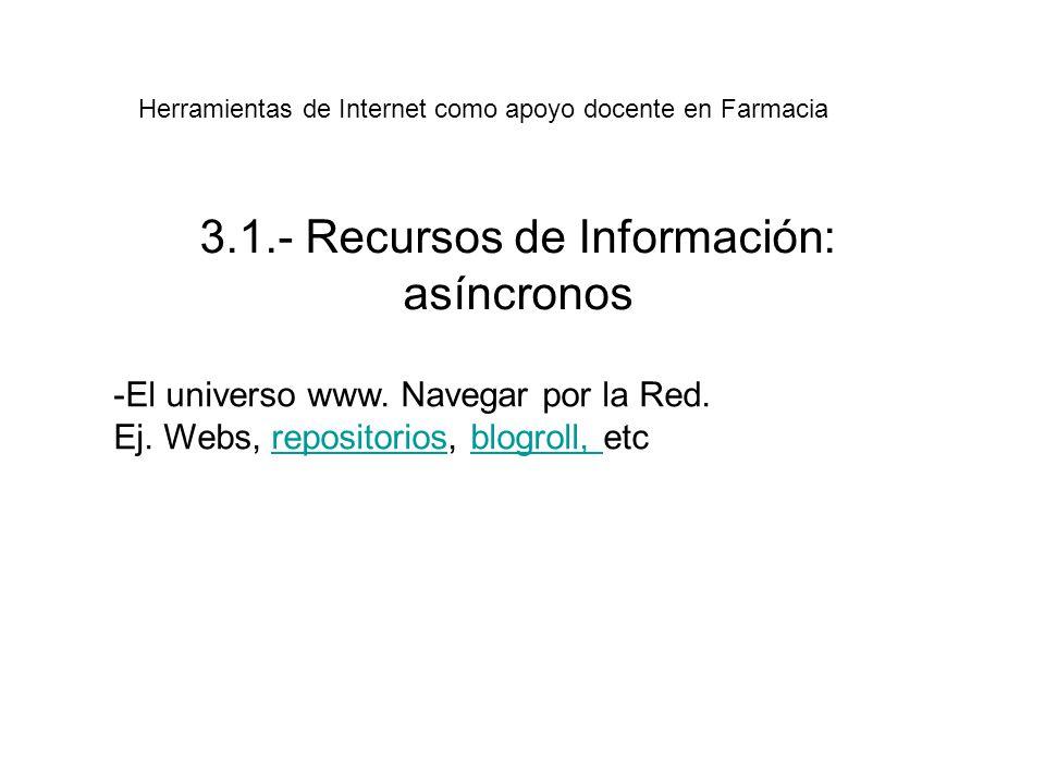 3.1.- Recursos de Información: asíncronos -El universo www.