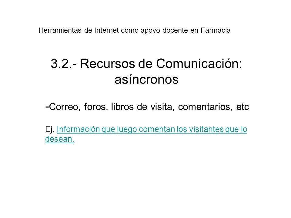 3.2.- Recursos de Comunicación: asíncronos - Correo, foros, libros de visita, comentarios, etc Ej.