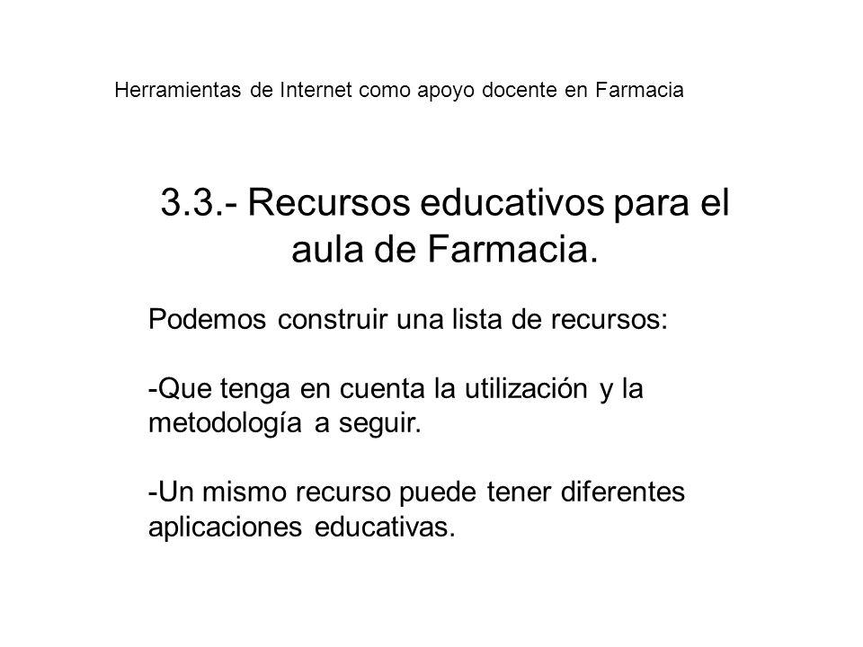 3.3.- Recursos educativos para el aula de Farmacia.